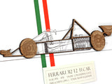 "Ferrari F1 Car Blueprint Art, Laser Cut Wood, 8x10"" or A4 sized"