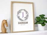 Surname and Monogram wreath sign