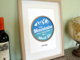 John Muir Mountains Quote wall art, cabin home decor