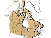 Canada gifts, wood cut map