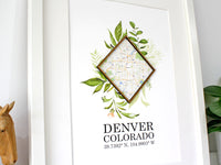 custom map and coordinates wall art gift