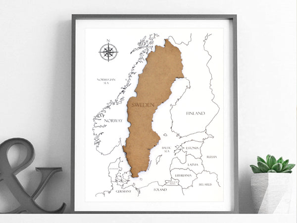 wood map of Sweden wall art gift