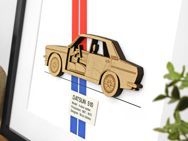 "Datsun 510 4-Door Sedan Blueprint Art, Datsun Decor, 8x10"" or A4 sized"