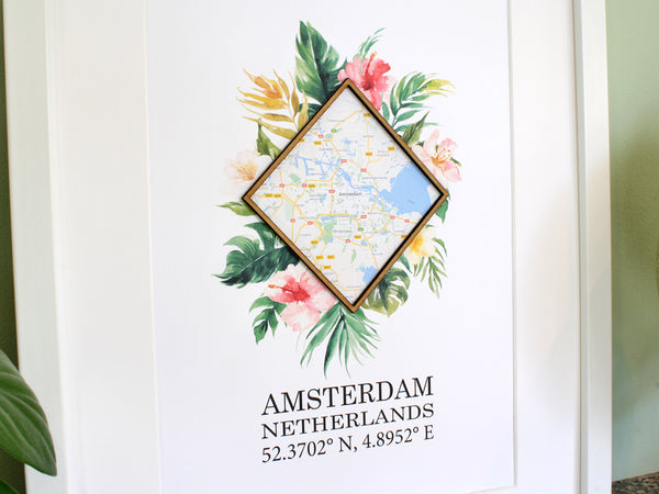 custom map wall art, home decor gift