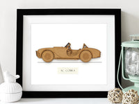 "AC Cobra Blueprint Art, AC Cobra Decor, Laser Cut Wood, 8x10"" or A4 sized"