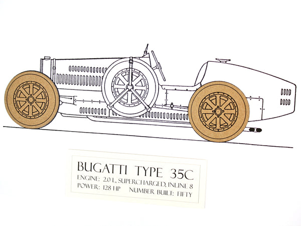 "Bugatti Type 35 Blueprint Art, Layered Card, 8x10"" or A4 sized"