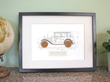 Ford Model A 4 door wall art gift