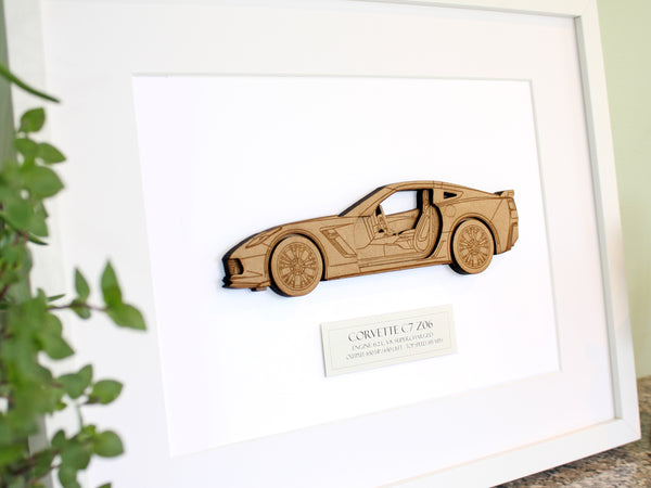 "Corvette C7 Z06 Art, Corvette Decor, Laser Cut Wood, 8x10"" or A4 sized"