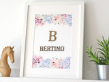 "Surname & Monogram Sign, Succulent Home Decor, 8x10"" or A4 sized"