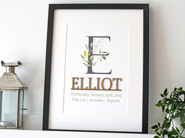 Foliage boy birth stats wall art