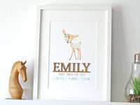 Birth Stats Nursery Art, Woodland Deer