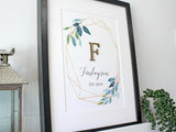 "Surname & Monogram Sign, Geometric Wall Art, 8x10"" or A4 sized"