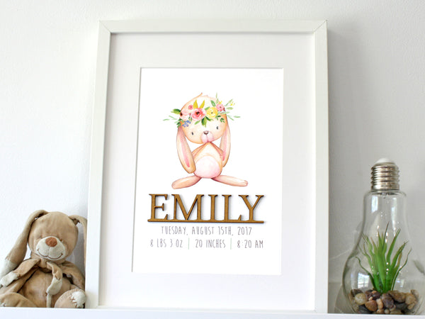 baby girl birth stats rabbit nursery art