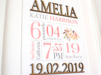 "Custom Birth Stats Wall Art, Laser Cut Wood, Pink Floral Nursery, 8x10"" or A4 sized"