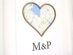 "Map & Monogram Decor, Custom Map Art, Anniversary Gift, 8x10"" or A4 sized"