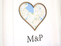 map and monogram, anniversary gift
