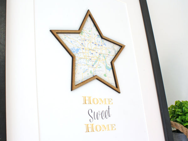 "Custom Home Sweet Home Sign, Personlized Map, Custom Map Art, 8x10"" or A4 sized"
