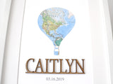 travel themed custom name nursery sign with map
