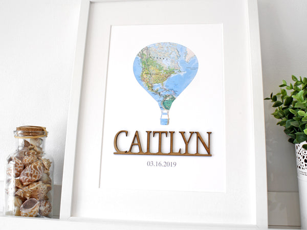 custom name nursery sign with balloon and map