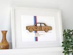 "BMW 2002 Wall Art, BMW 2002 Blueprint, Laser Cut Wood, 8x10"" or A4 sized"