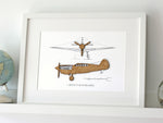 Curtiss P40 blueprint art, aviation gift wall art
