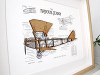 Biplane blueprint wall art, aviation decor