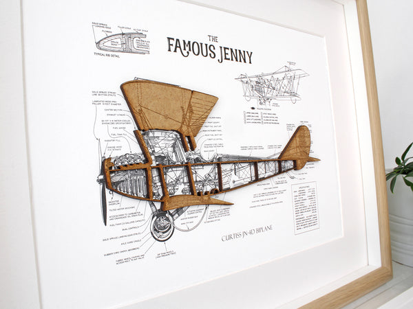 "Biplane Blueprint Art, Curtiss JN-4D, Laser Cut Wood, 8x10"" or A4 sized"