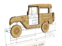 Toyota FJ40 laser cut wood blueprint art