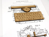 typewriter patent art, office decor