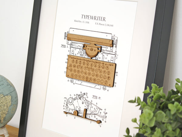 typewriter patent art, gift for writer