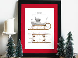 stylish Christmas decor, snow sleigh patent art