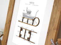 Sleigh patent art, Christmas wall art