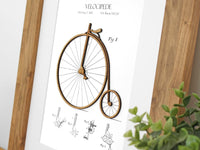 cycling patent art, penny farthing