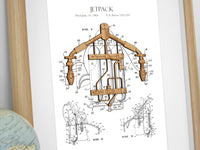Jetpack Patent Art, Science Gifts, Laser Cut Wood, 8x10 or A4 sizes