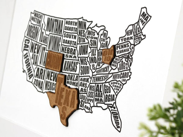 Custom US states map art