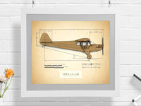 vintage Piper J3 Cub gift, aviation art