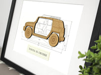 Toyota FJ Cruiser wood blueprint art