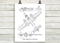 B-25 Mitchell blueprint art, aviation gift