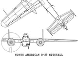 B-25 Mitchell blueprint art