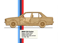 BMW e30 Sedan blueprint decor