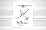 Cessna 172 blueprint art