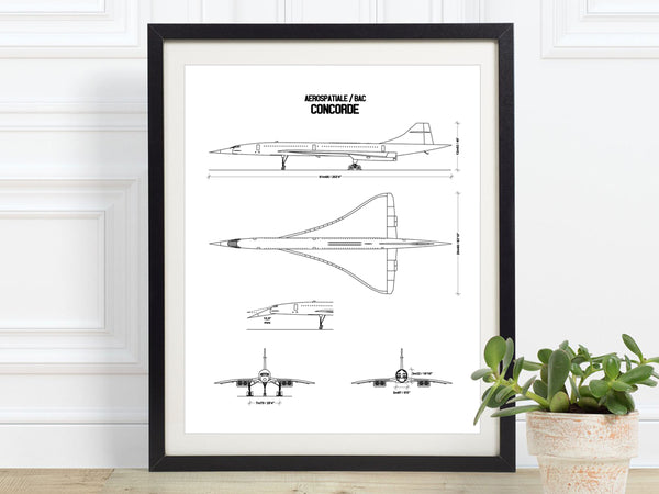 Concorde print wall art gift