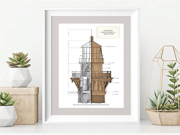 Lighthouse Blueprint, Nautical Decor