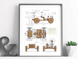 "Lunar Rover Blueprint Wall Art, Space Art, NASA Decor, Laser Cut, 8x10"" or A4 sized"