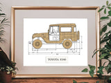 Toyota FJ40 Land Cruiser blueprint art gift
