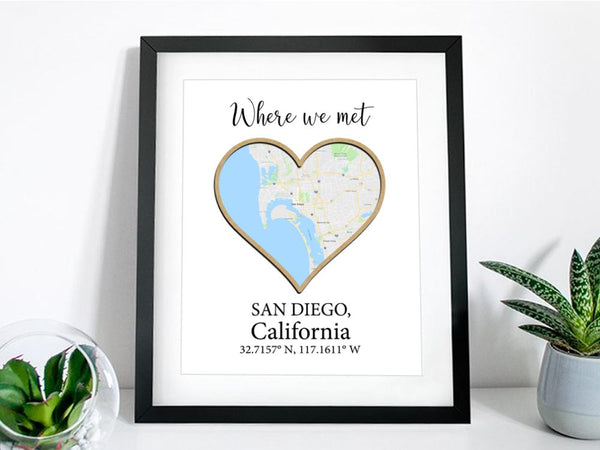 where we met map, map gift