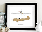 Yakovlev Yak-52 Aviation Art, Laser Cut Wood Blueprint, 8x10 or A4 sizes