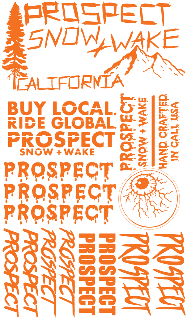 Prospect Snowboard and Wakeboard Sticker pack free orange