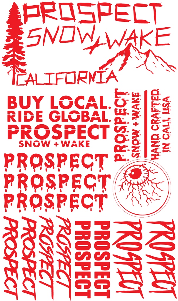 Prospect Snowboard and Wakeboard Sticker pack free Red