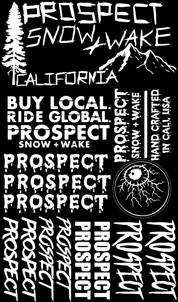 Prospect Snowboard and Wakeboard Sticker pack free White